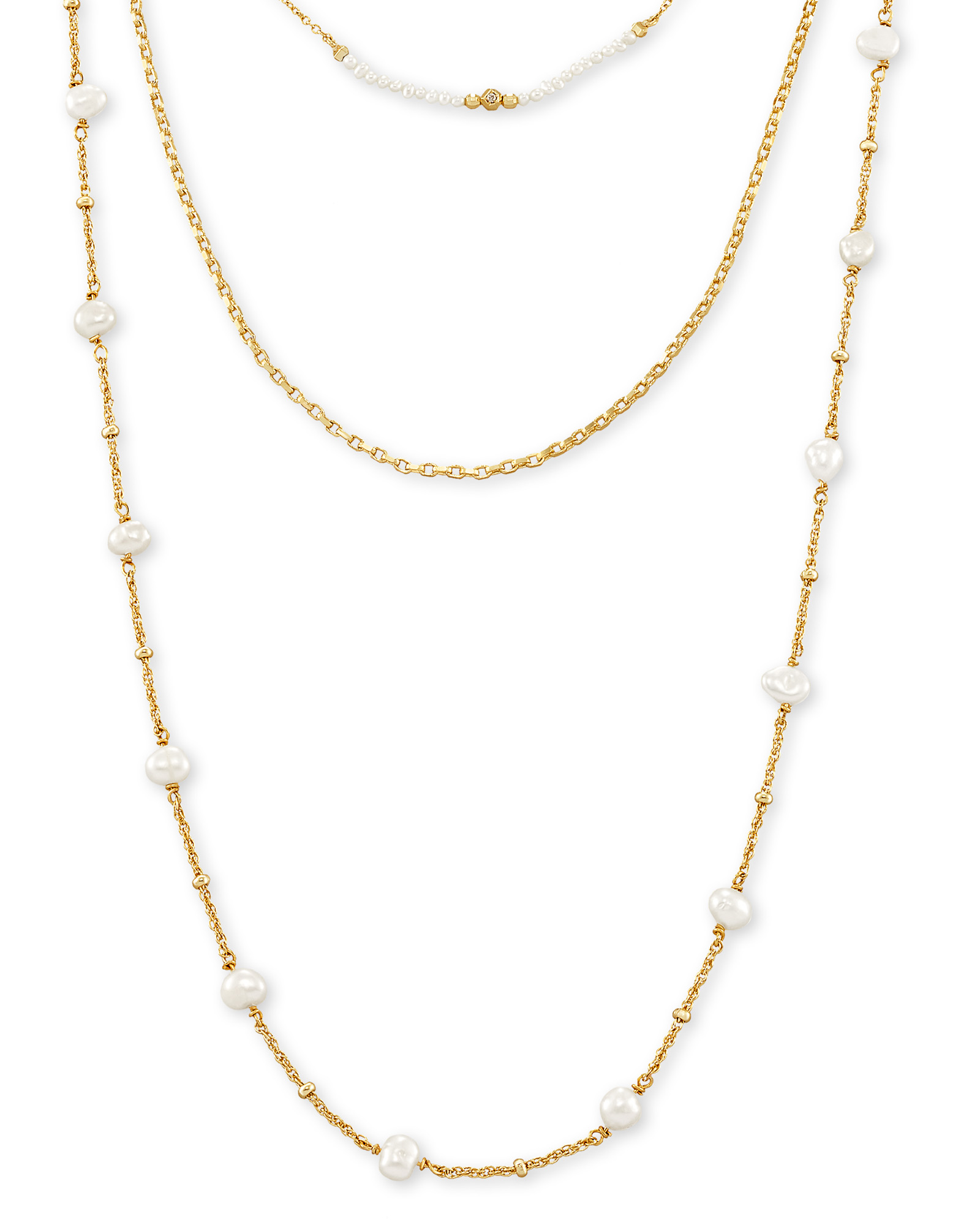 Scarlet Gold Multi Strand Necklace in White Pearl