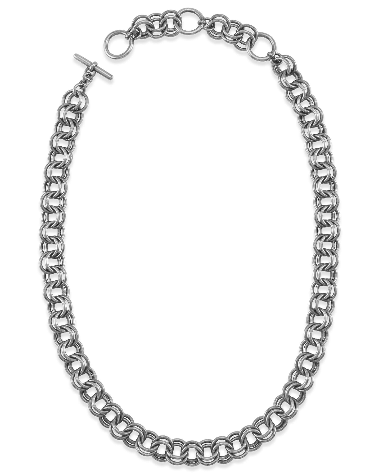 18 Inch Double Chain Link Necklace in Vintage Silver