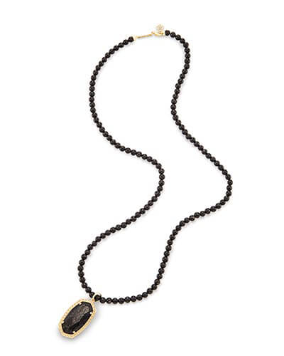 Marlowe Long Pendant Necklace in Black Granite