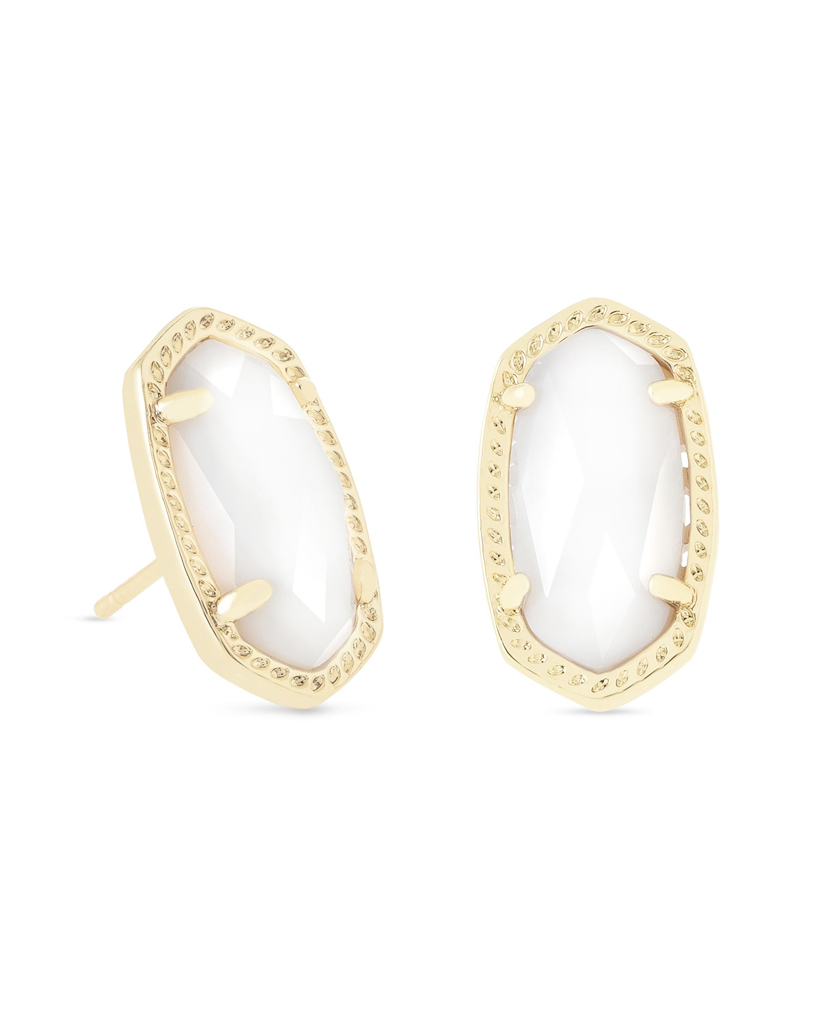 Ellie Gold Stud Earrings in White Pearl