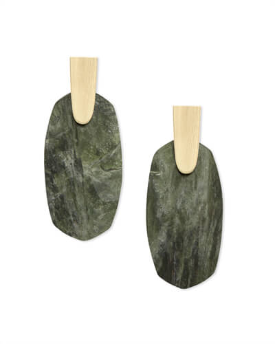 Aragon Gold Drop Earrings in Sage Mica