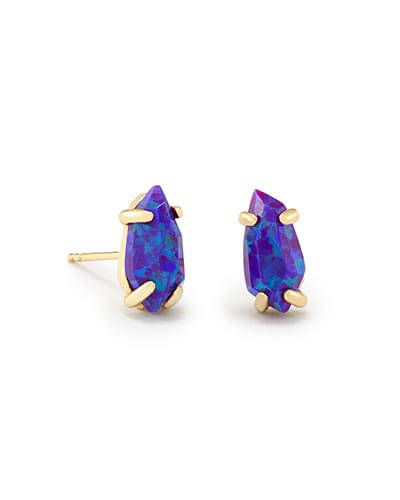 Jillian Gold Stud Earrings in Purple Kyocera Opal