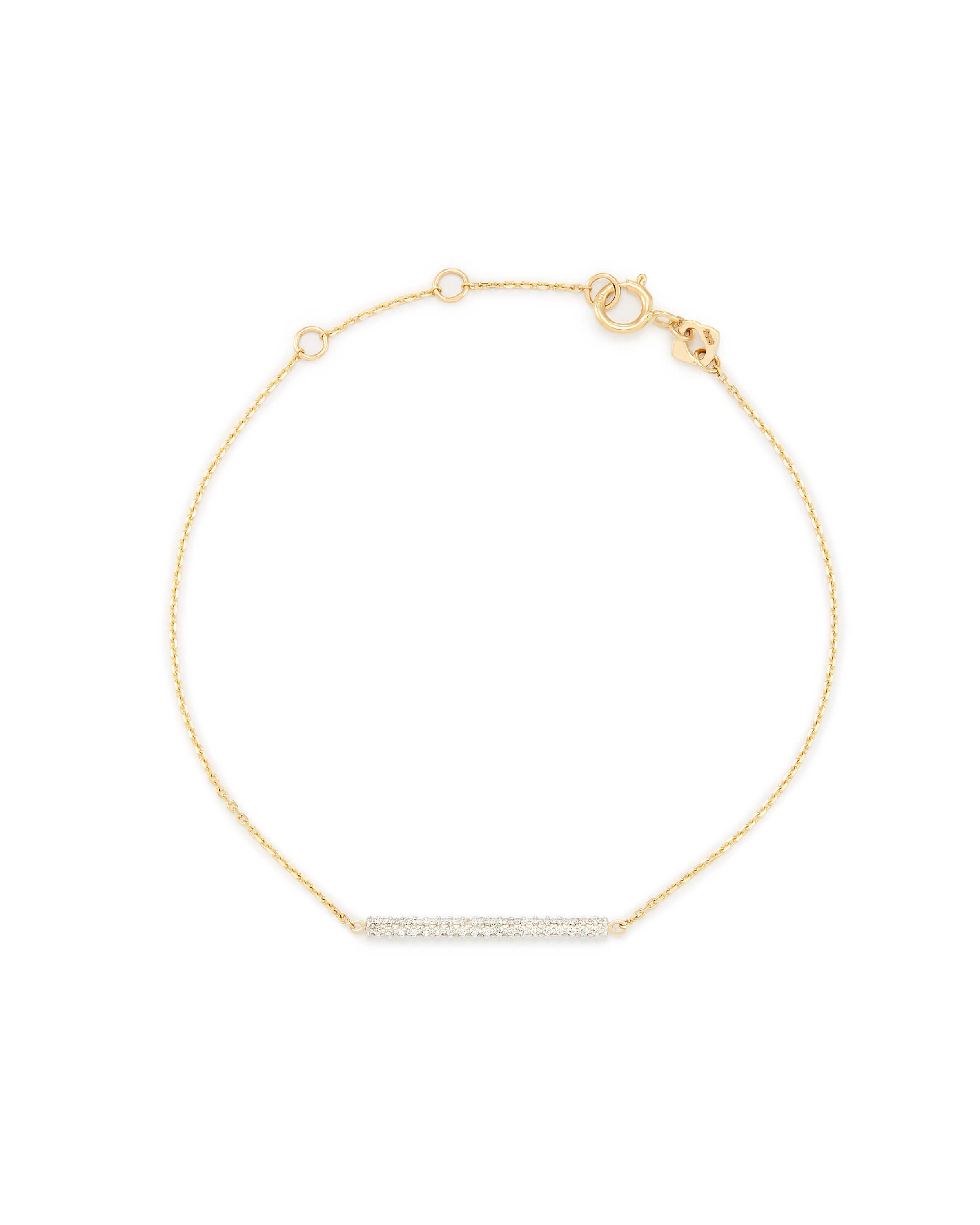 River 14k Yellow Gold Chain Bracelet In White Diamonds