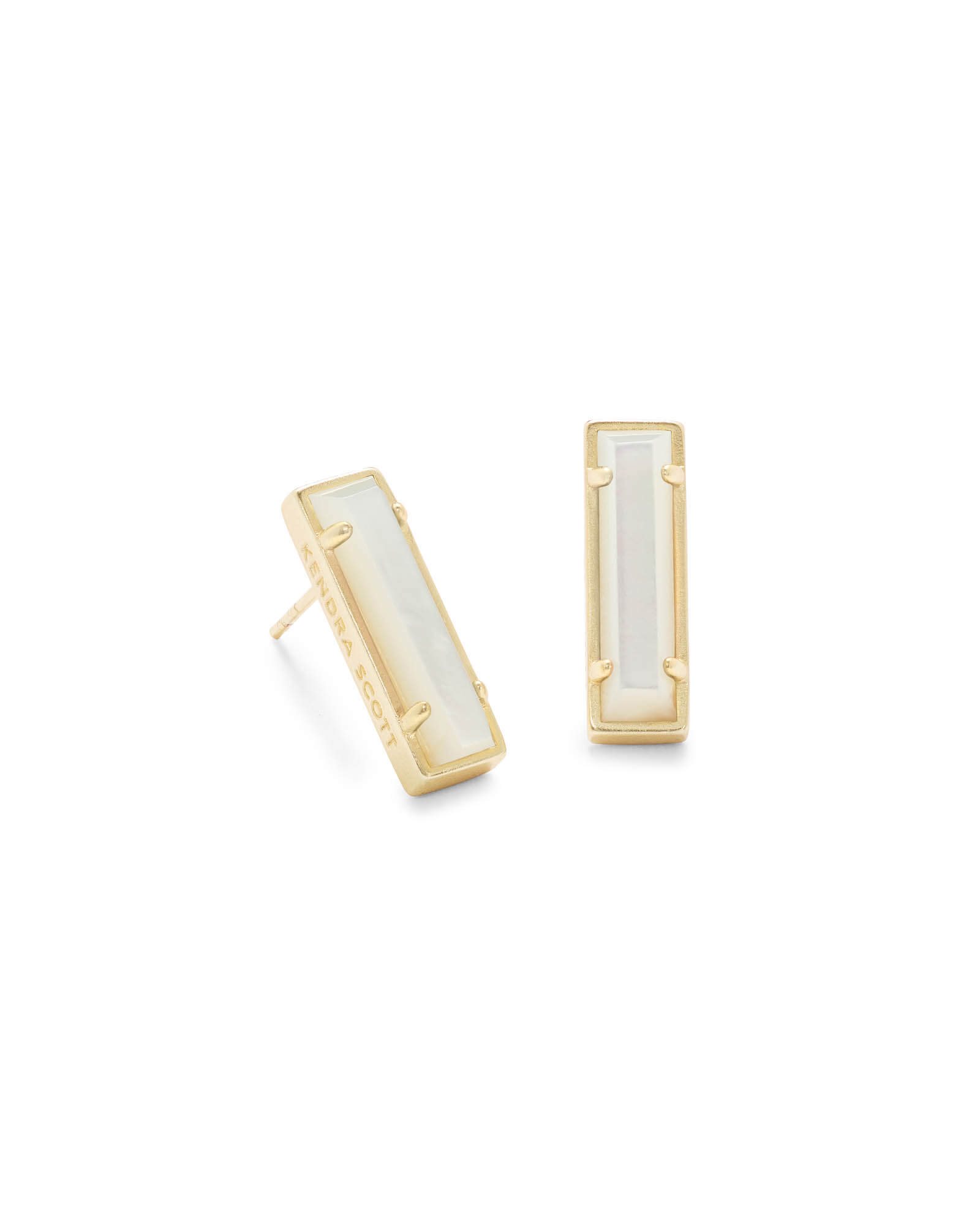 Lady Gold Stud Earrings in Ivory Pearl