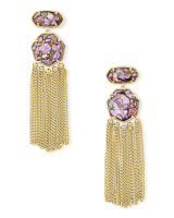 Tae Gold Statement Earrings in Bronze Veined Lilac Magnesite