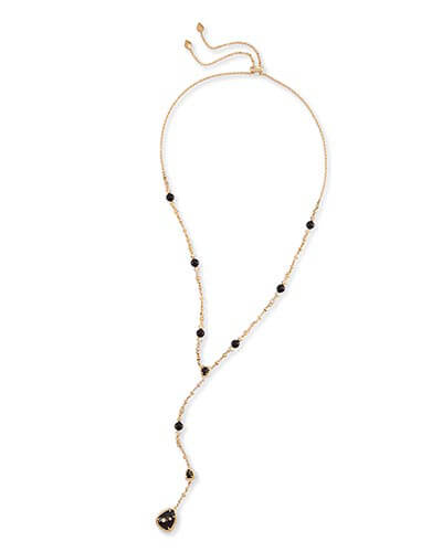 Lucielle Y Necklace in Black Granite