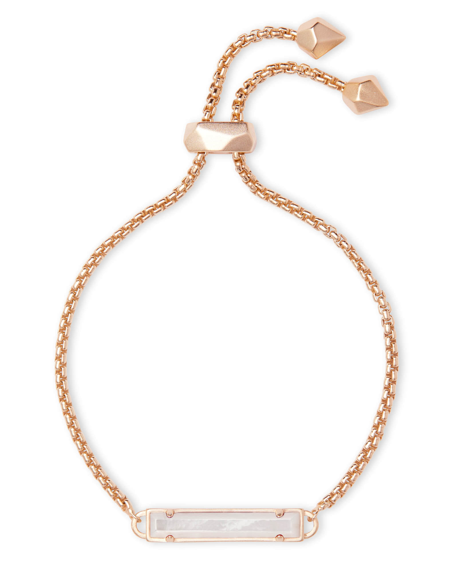 Stan Rose Gold Adjustable Chain Bracelet in Ivory Pearl