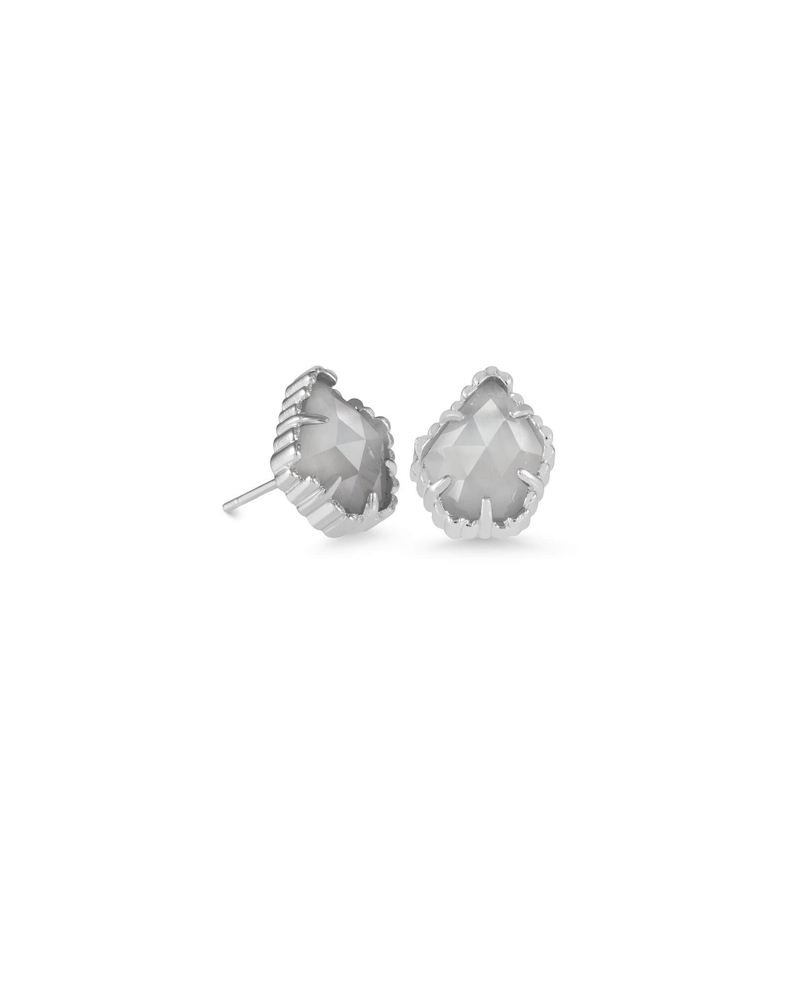 Tessa Silver Stud Earrings in Slate Cats Eye