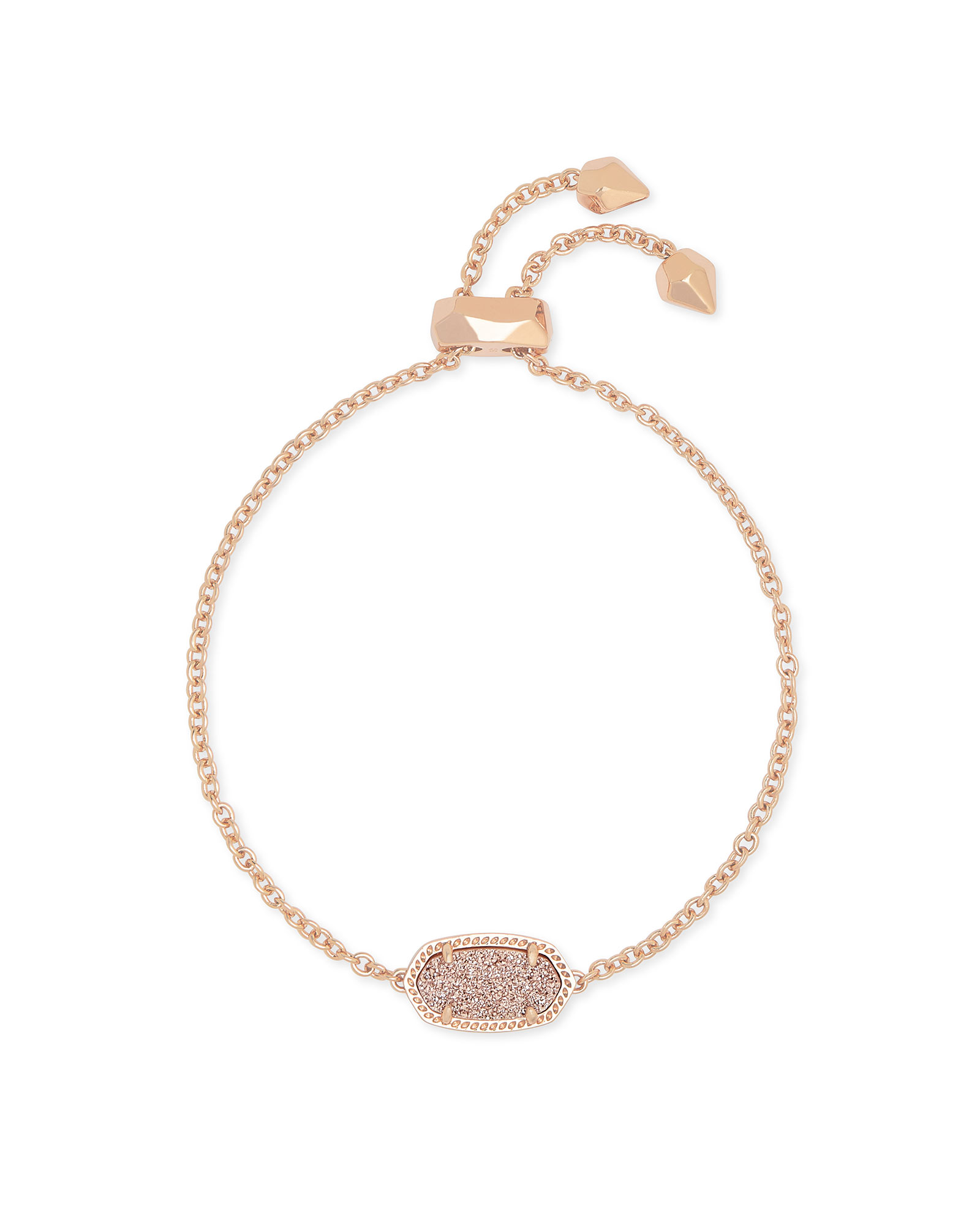 Elaina Rose Gold Adjustable Chain Bracelet in Sand Drusy