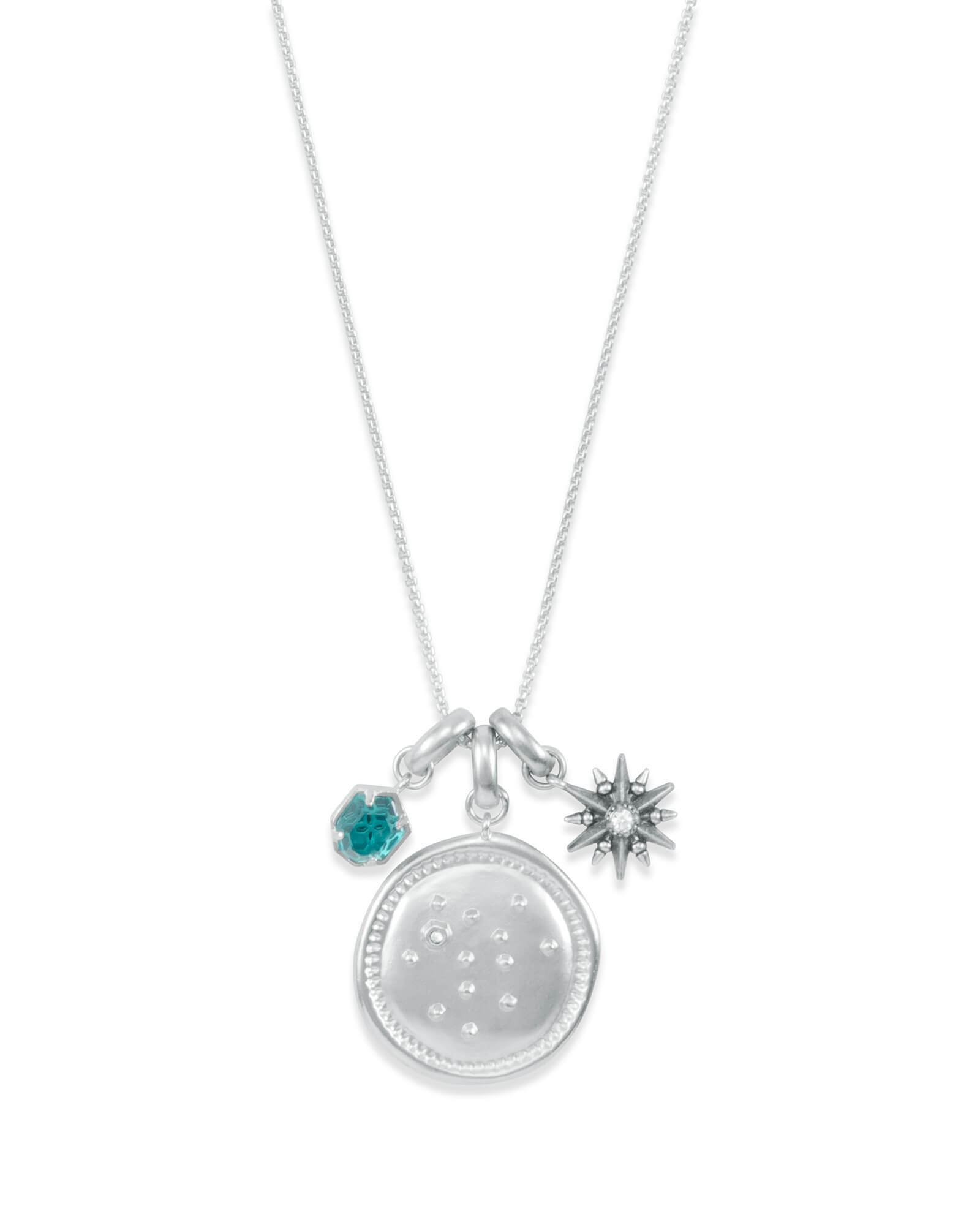 December Sagittarius Charm Necklace Set in Silver