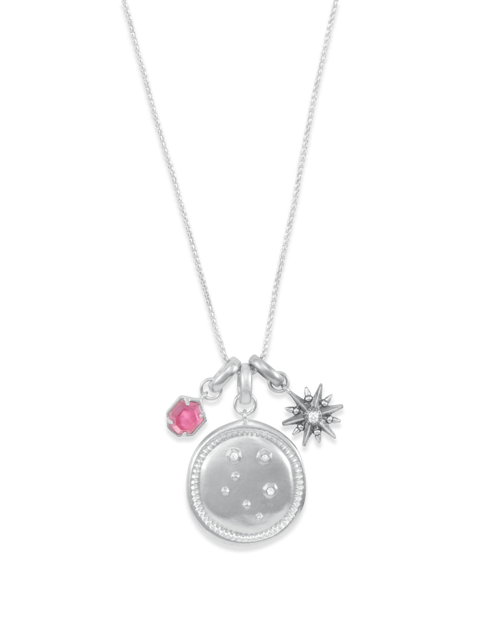 October Libra Charm Necklace Set in Silver