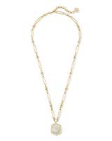 Davis Gold Pendant Necklace in Iridescent Drusy