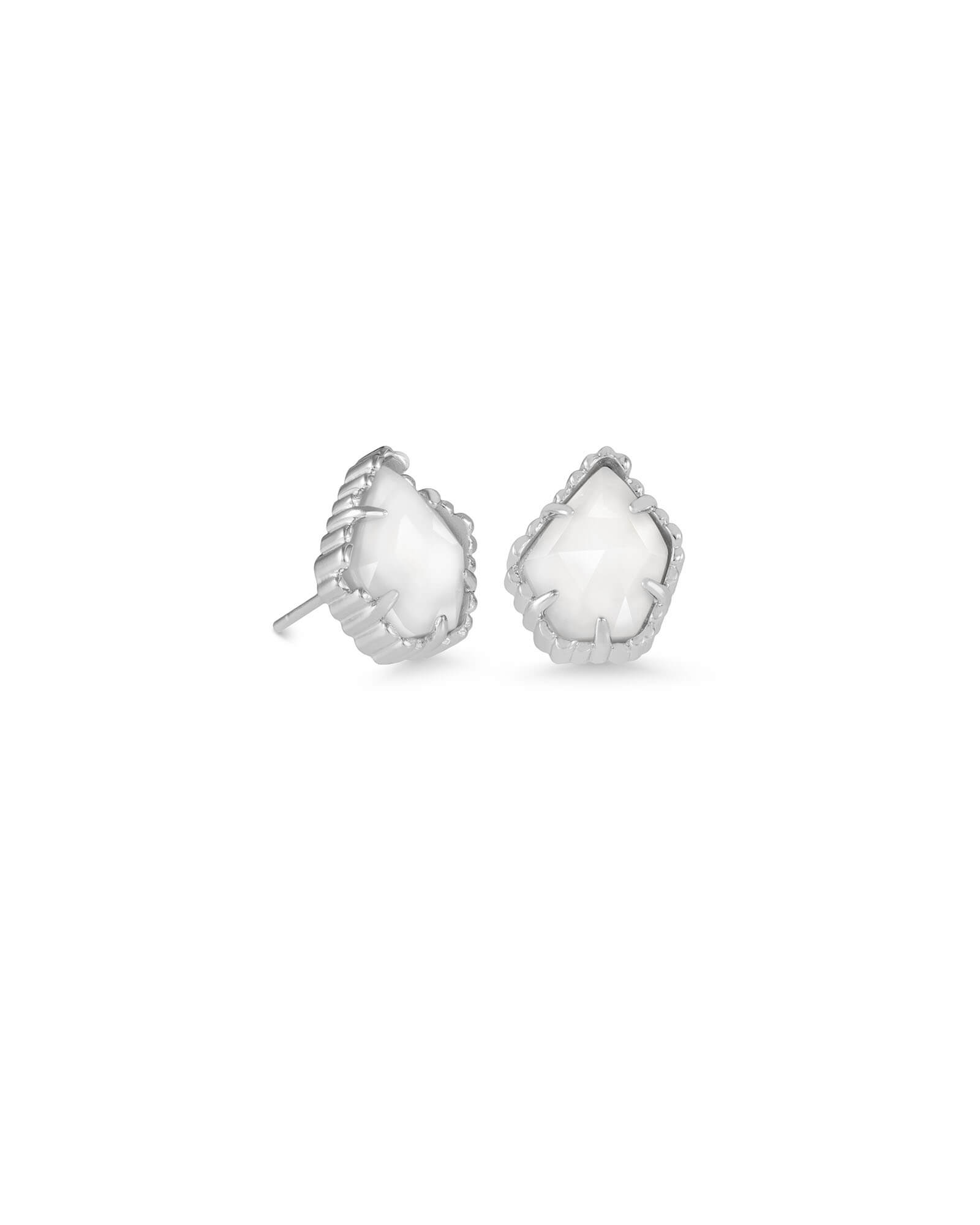 Tessa Silver Stud Earrings in White Pearl