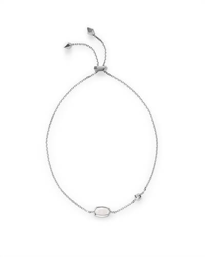Benson Adjustable Bracelet in Rainbow Moonstone and 14k White Gold