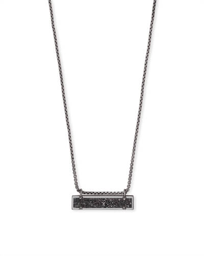 Leanor Gunmetal Pendant Necklace in Black Drusy