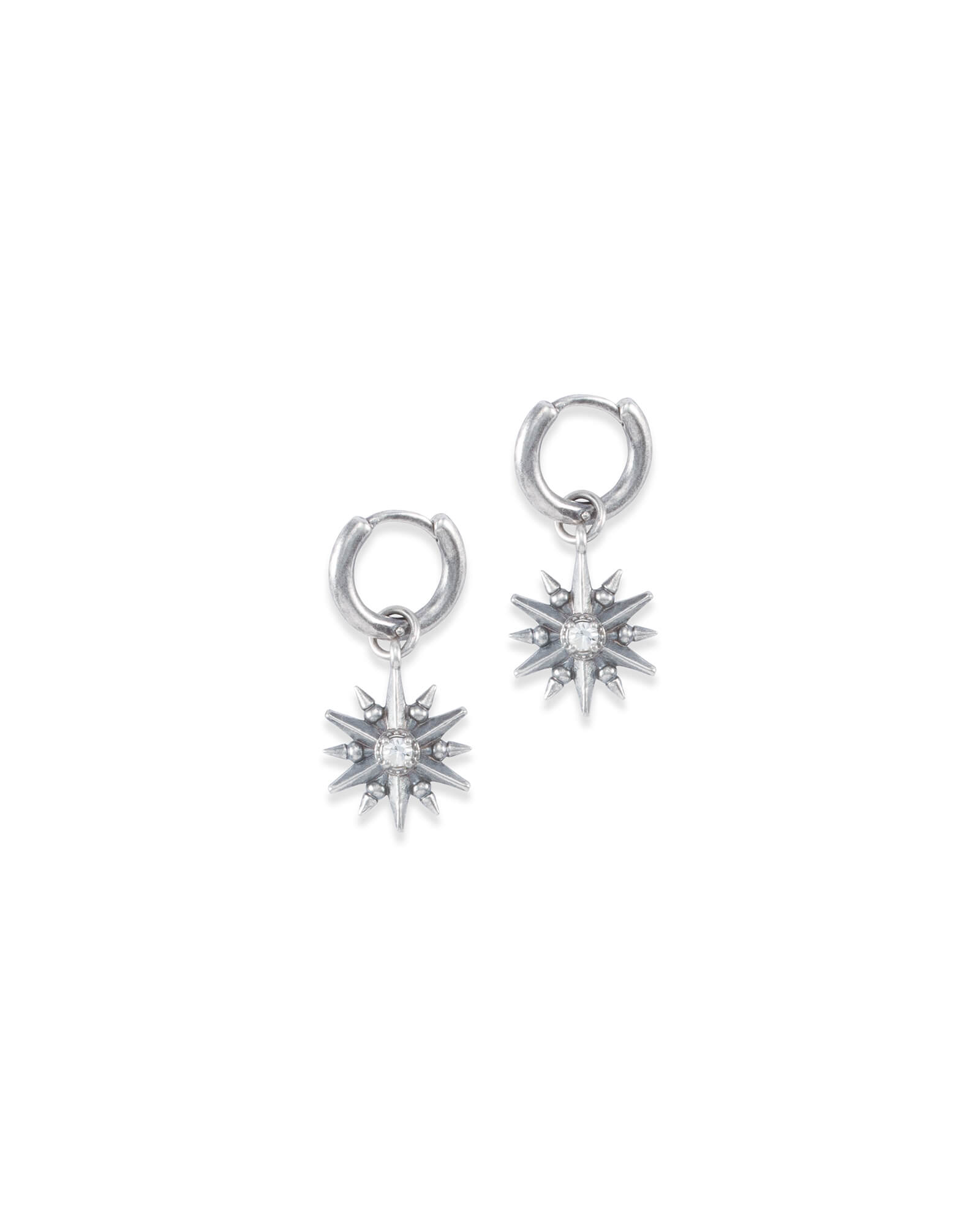 Starburst Charm Earrings Set in Vintage Silver