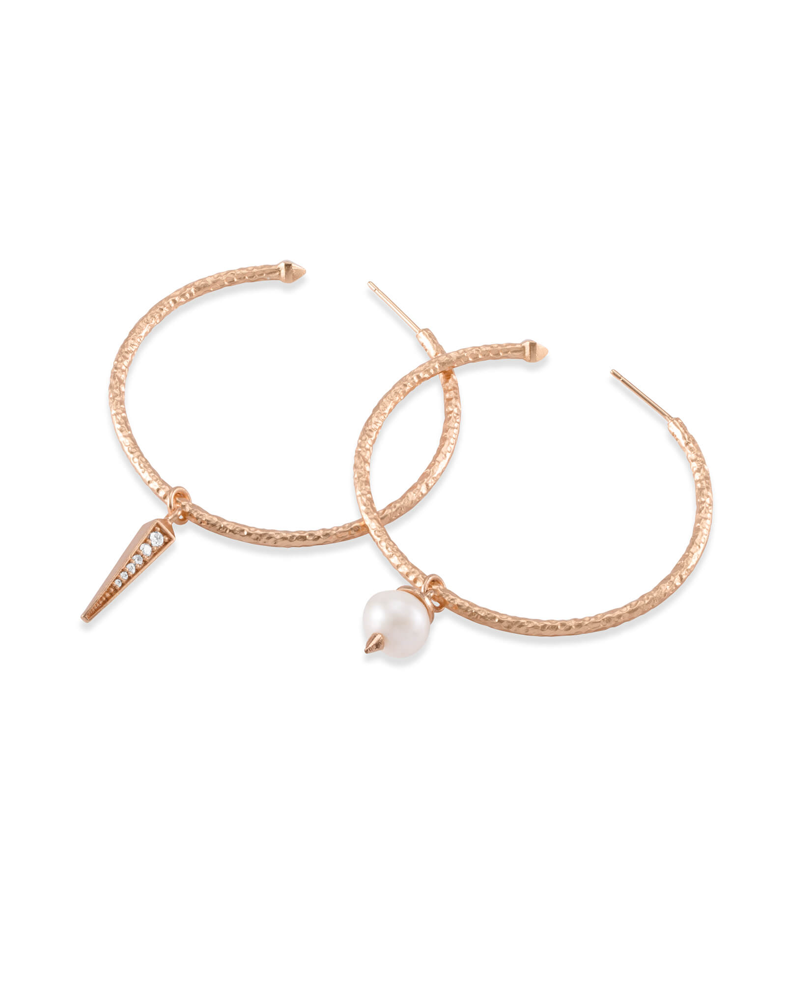 Duality Rose Gold Charm Earrings Set in White Pearl