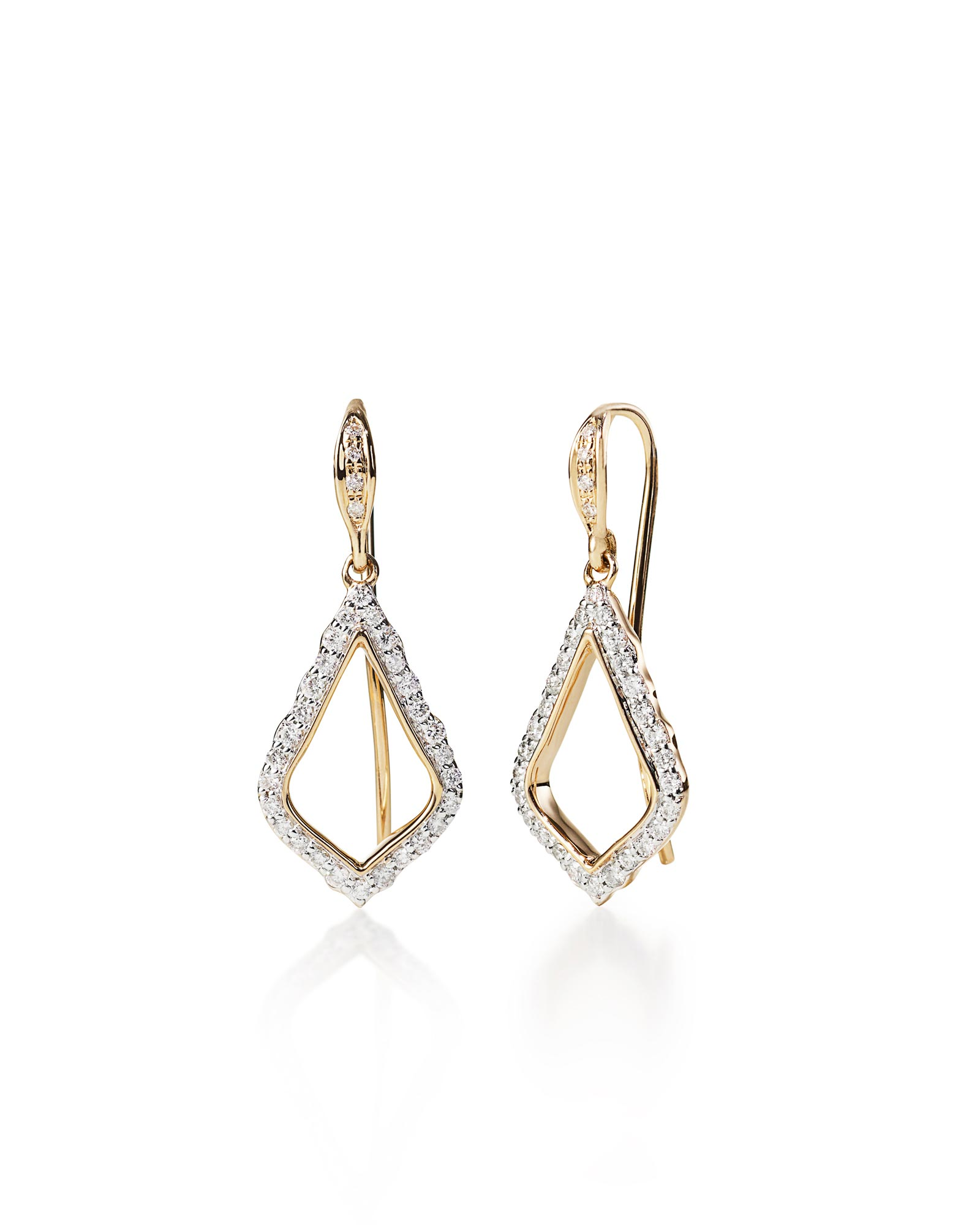 Liliana Drop Earrings in Pave Diamond and 14k Yellow Gold