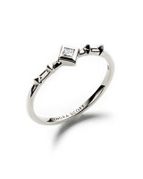 Wave 14k White Gold Band Ring in White Diamond