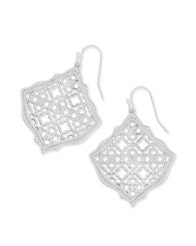 Kirsten Silver Drop Earrings in Silver Filigree Mix