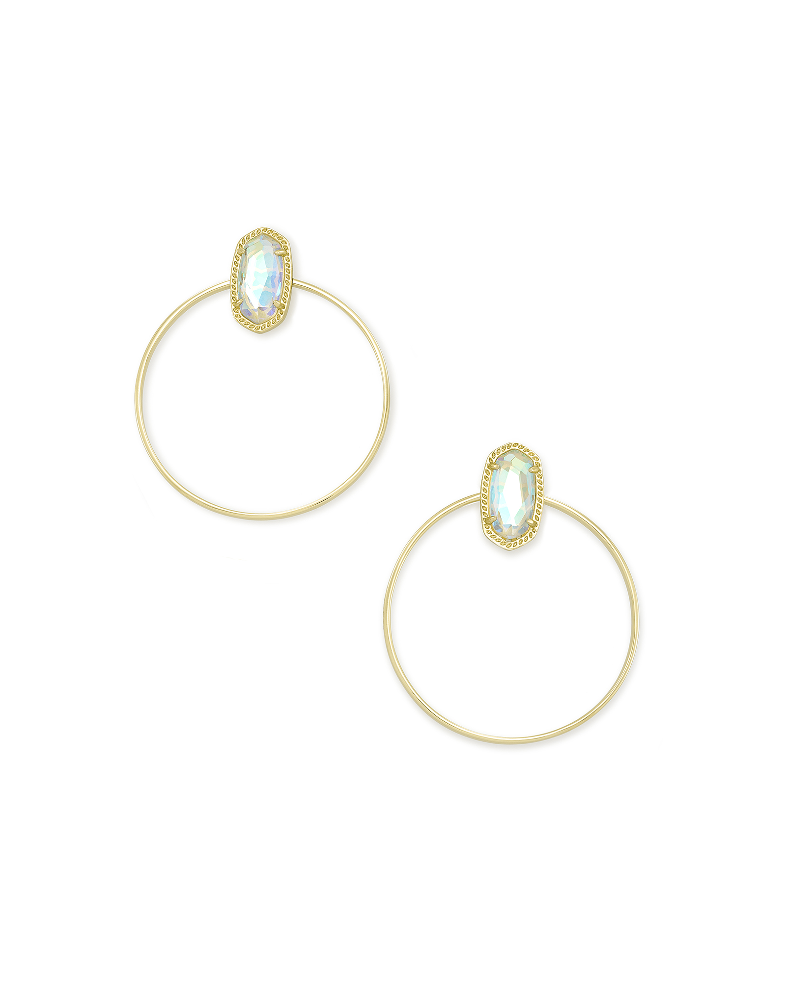 Mayra Gold Hoop Earrings in Dichroic Glass