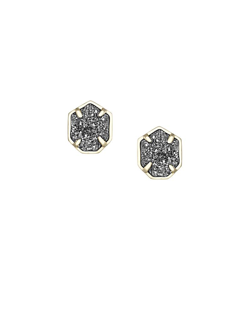 Taylor Gold Stud Earrings in Platinum Drusy