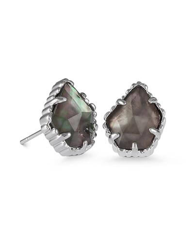 Tessa Stud Earrings in Black Pearl