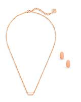 Fern Necklace & Barrett Earrings Gift Set In Rose Gold