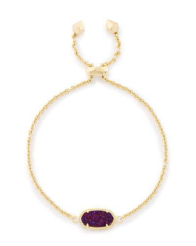 Elaina Adjustable Chain Bracelet in Plum Drusy