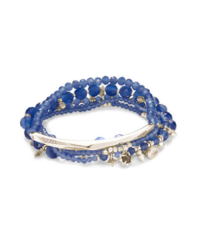 Supak Silver Beaded Bracelet Set in Navy Cats Eye