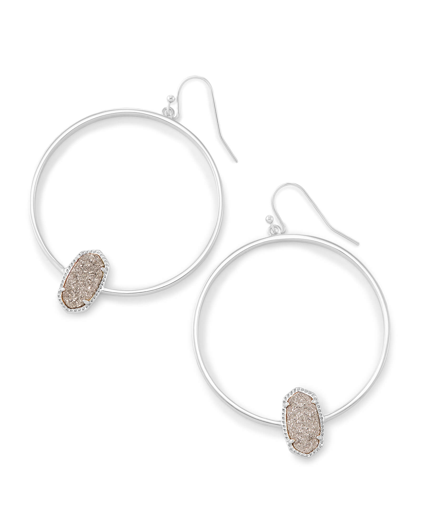 Elora Silver Hoop Earrings In Platinum Drusy