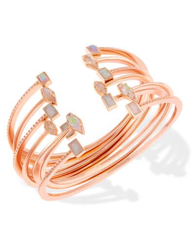 Kinsley Rose Gold Bangle Bracelet Set in Escape