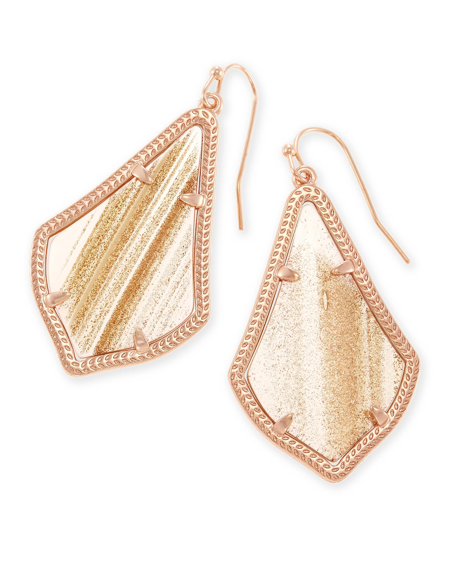 Alex Drop Earrings in Gold Dusted Glass