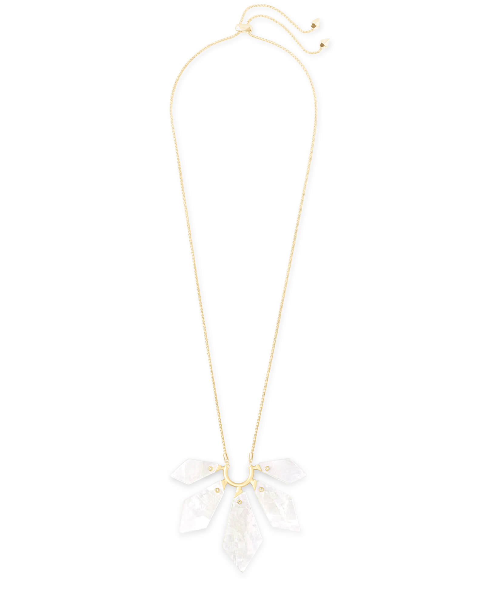 Mari Gold Long Pendant Necklace in Ivory Mother-of-Pearl