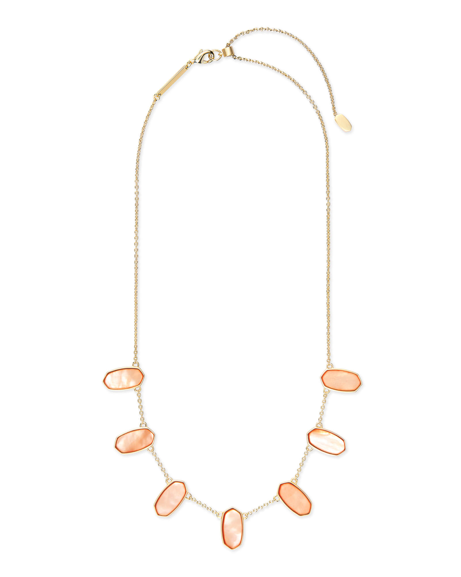 Meadow Gold Statement Necklace in Peach Pearl