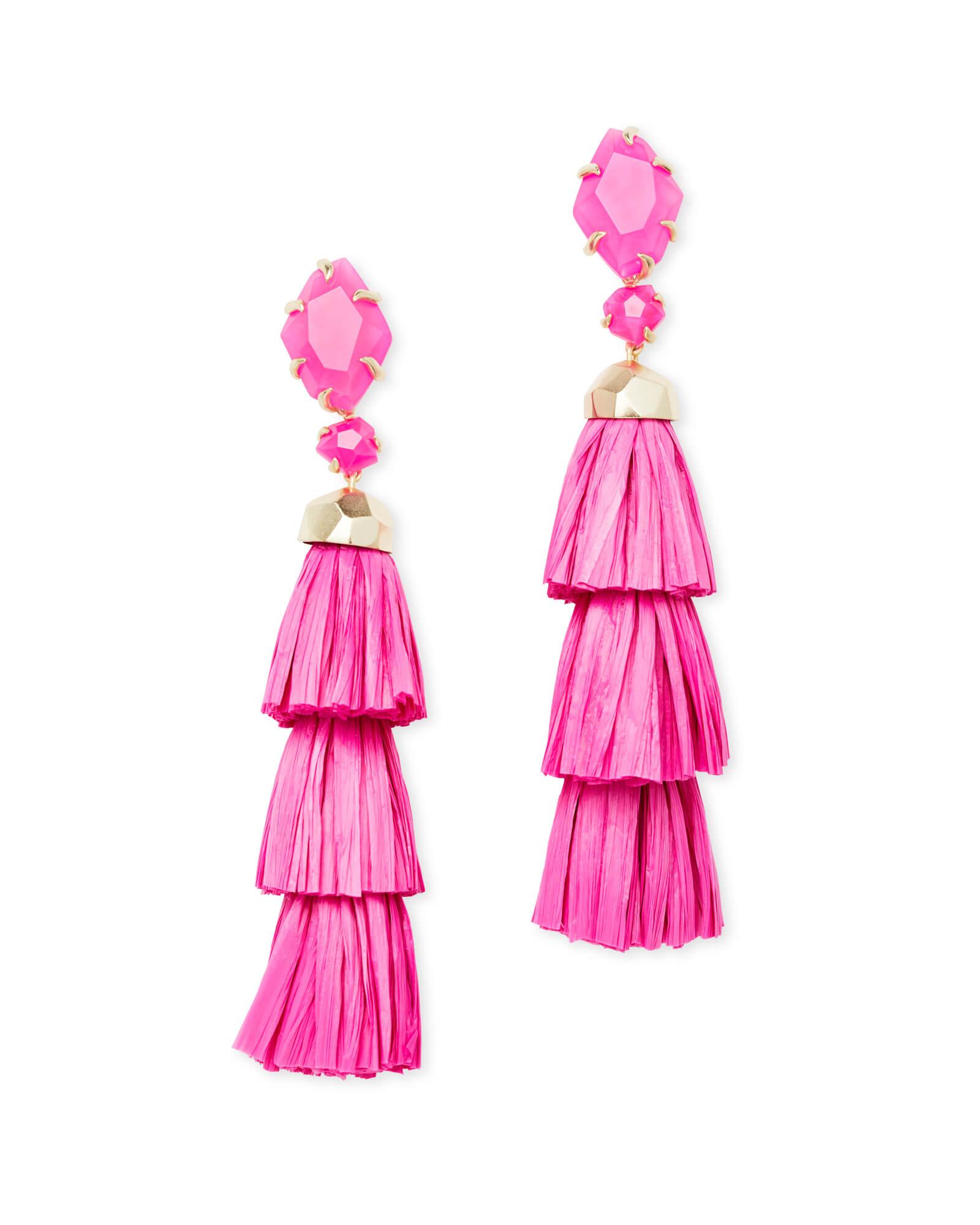 Denise Gold Statement Earrings In Pink Agate   Kendra Scott