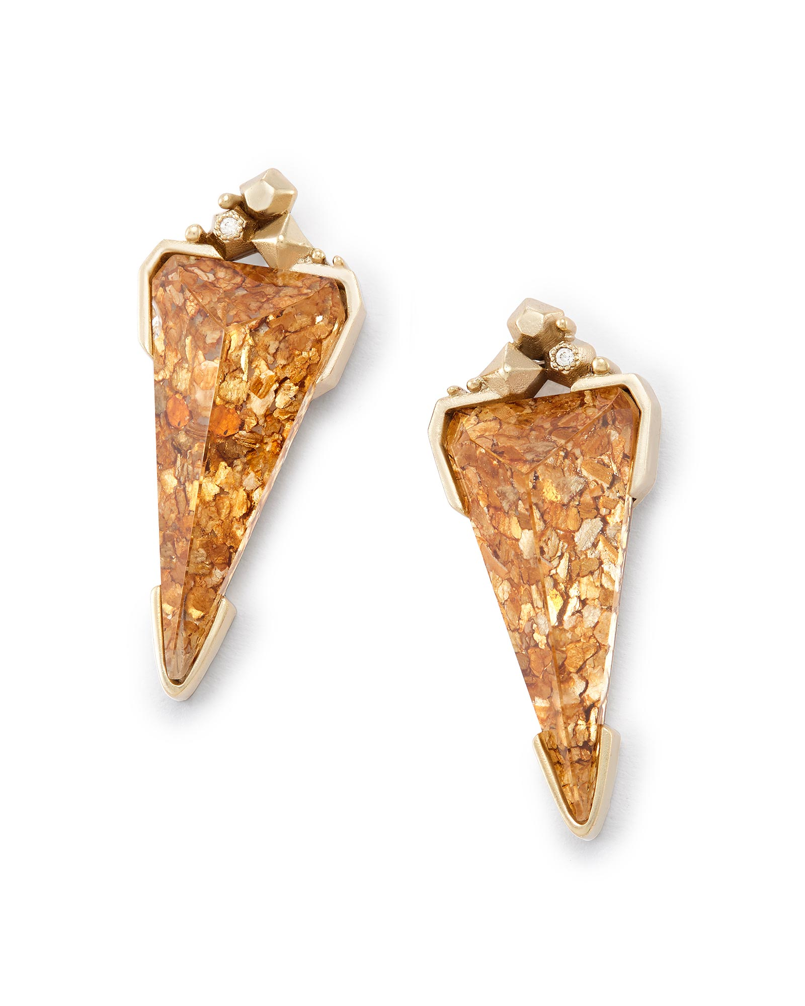 Libby Statement Earrings in Crushed Gold Mica