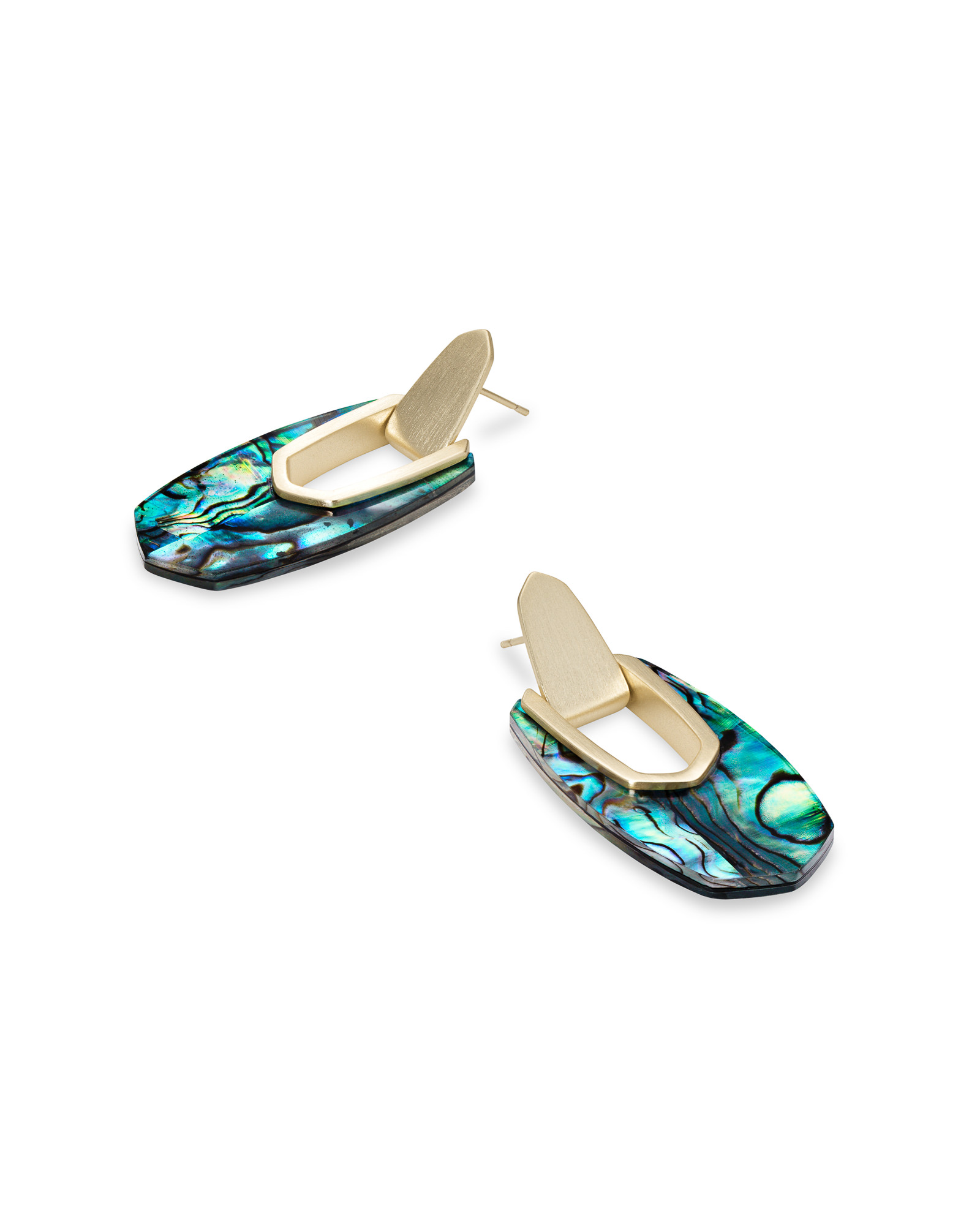 Kailyn Gold Drop Earrings in Abalone Shell