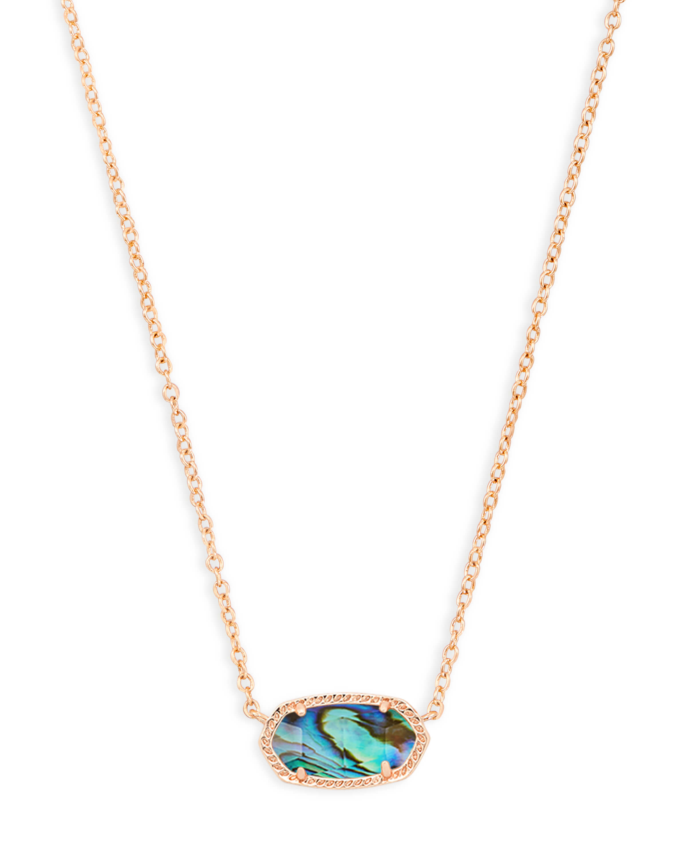 Elisa Rose Gold Pendant Necklace in Abalone Shell