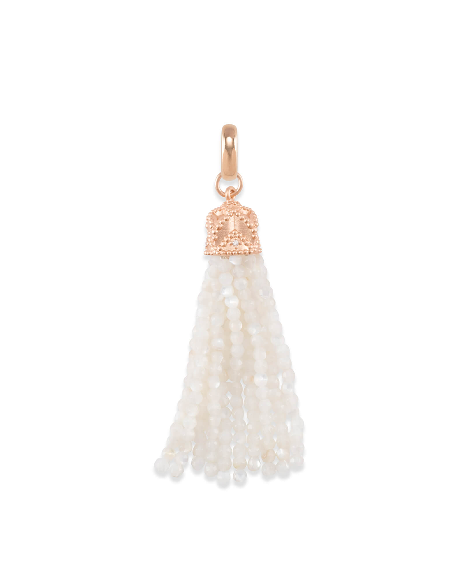 Beaded Rose Gold Tassel Charm in Ivory Pearl