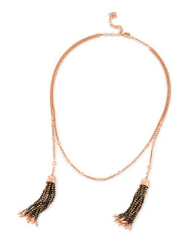 Monique Lariat Necklace in Brown Pearl