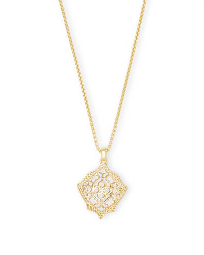Kacey Gold Long Pendant Necklace in Gold Filigree Mix