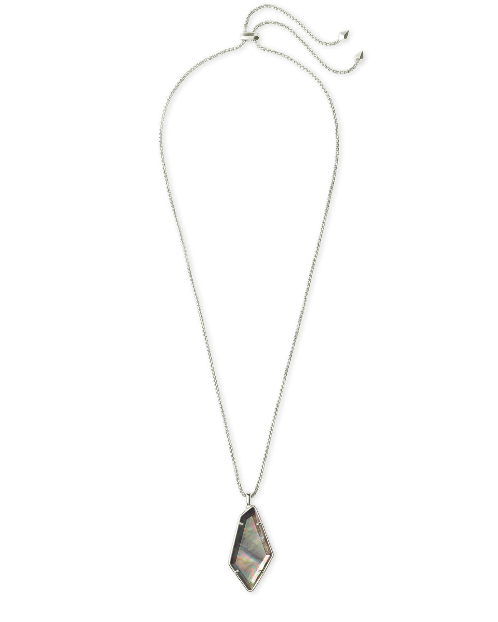 Lilith Bright Silver Long Pendant Necklace in Black Mother-of-Pearl