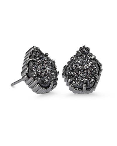 Tessa Stud Earrings in Black Drusy