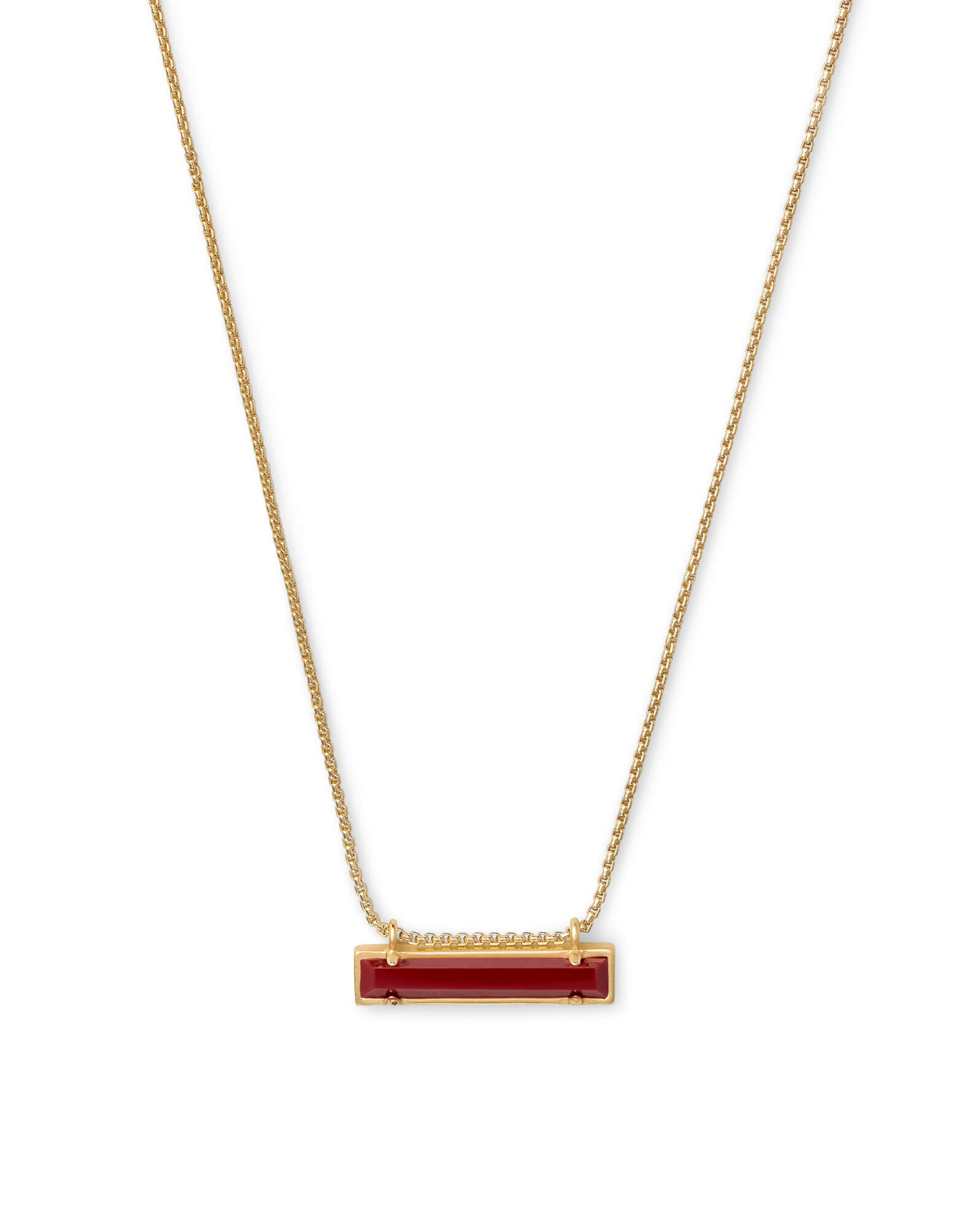 Leanor Gold Pendant Necklace In Dark Red