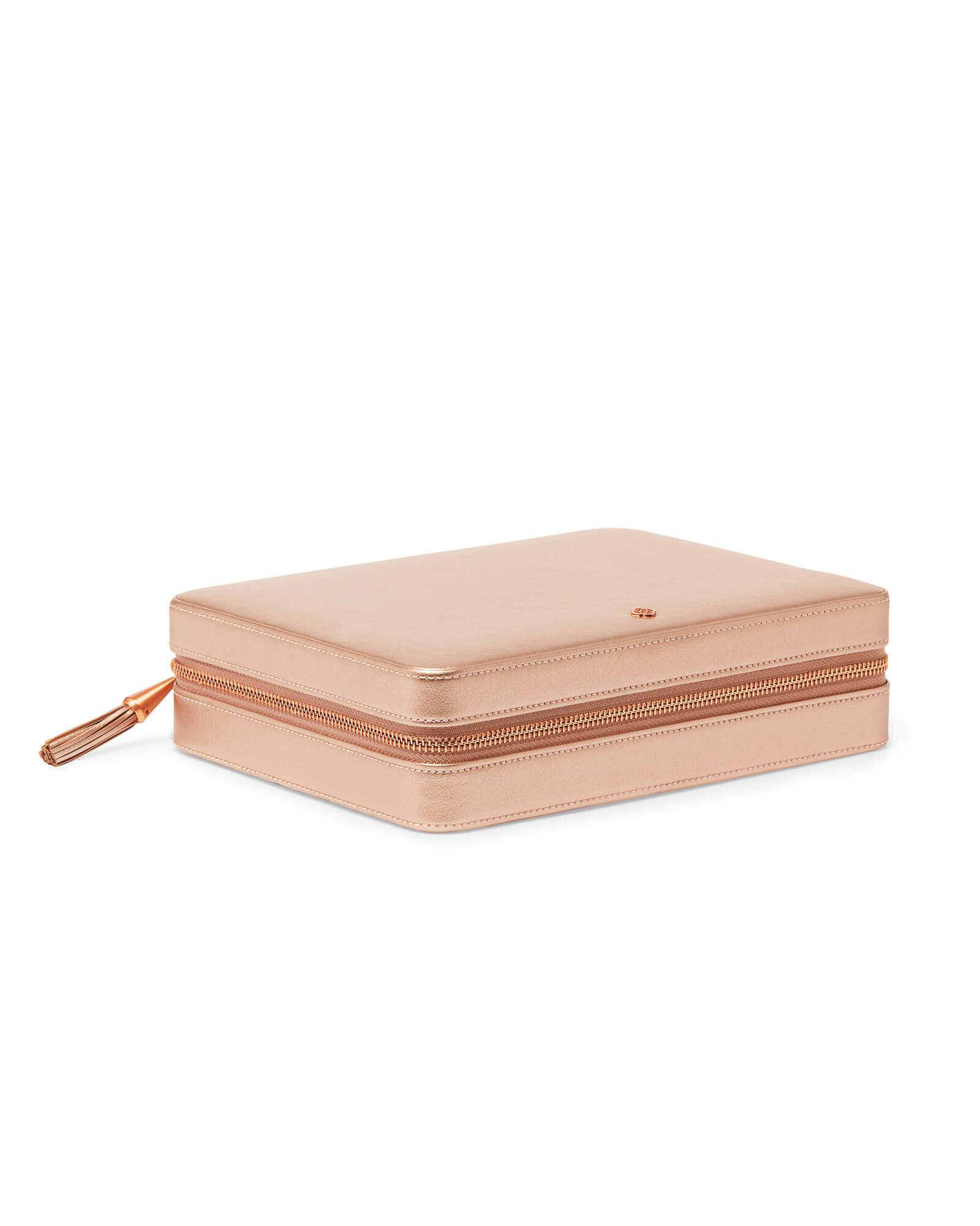 Large Travel Jewelry Case in Rose Gold