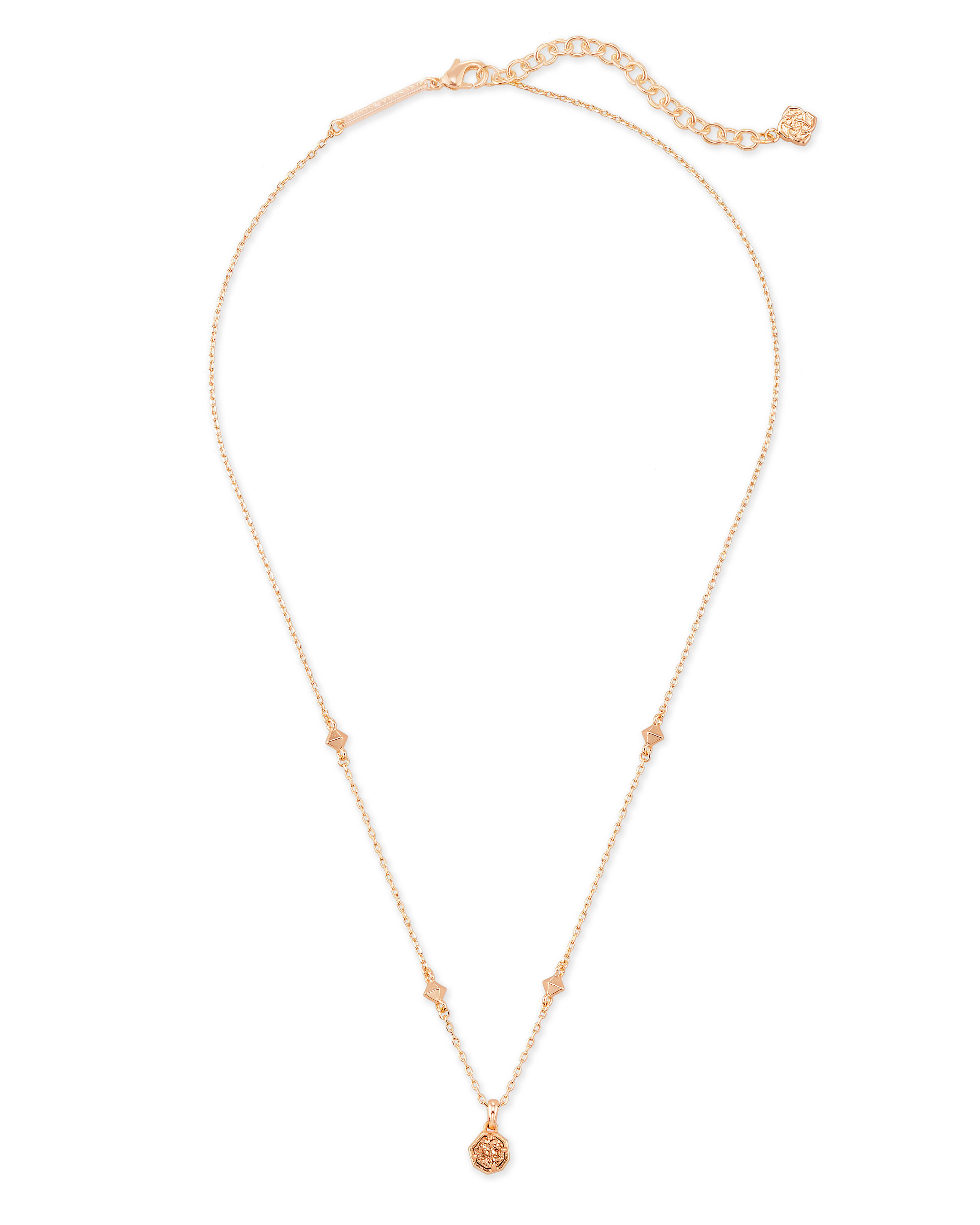 Nola Rose Gold Short Pendant Necklace in Rose Gold Drusy