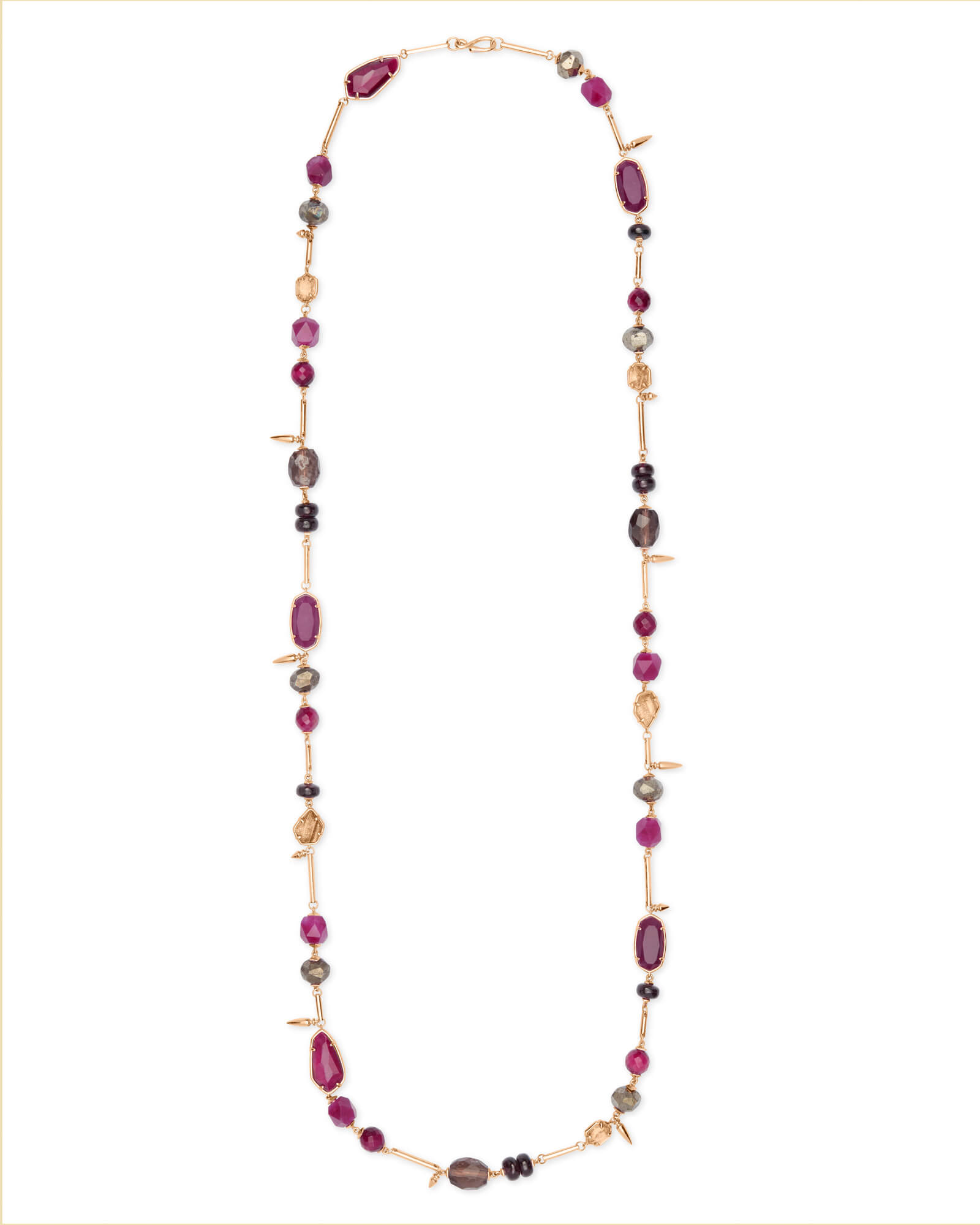 Ruth Rose Gold Long Necklace In Maroon Mix