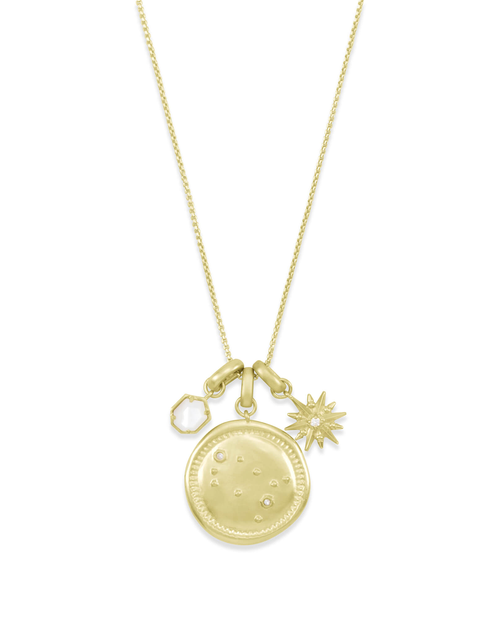June Gemini Charm Necklace Set in Gold