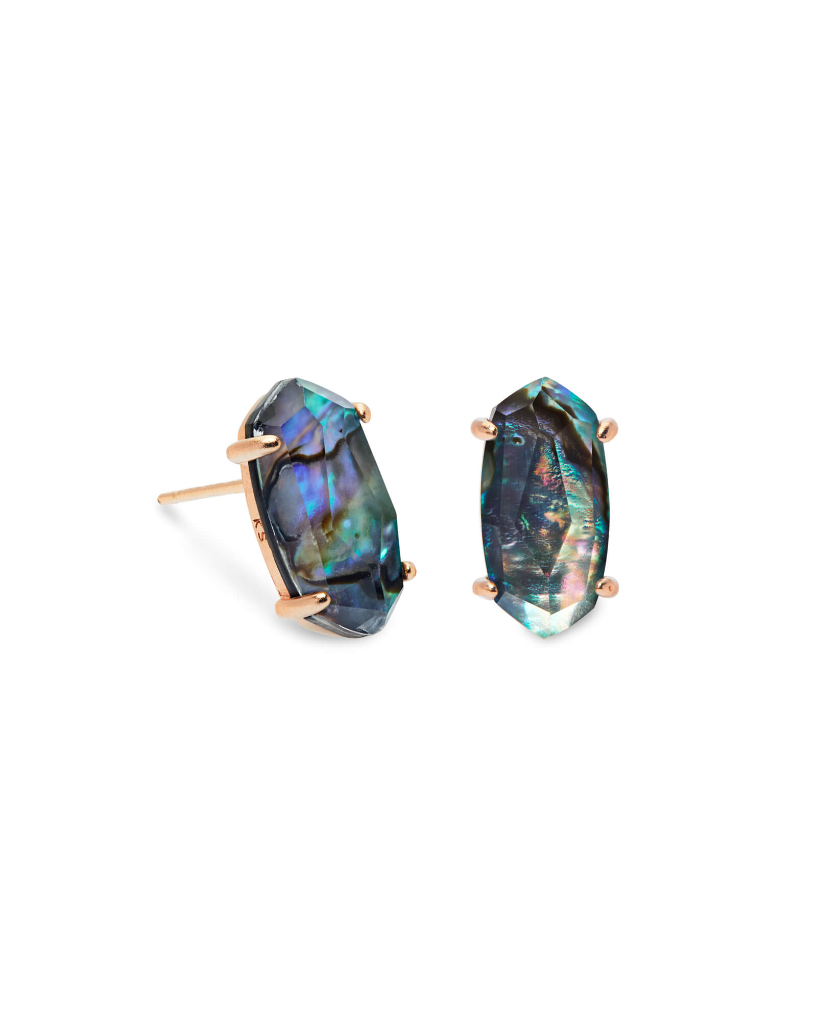 Betty Rose Gold Stud Earrings in Abalone Shell